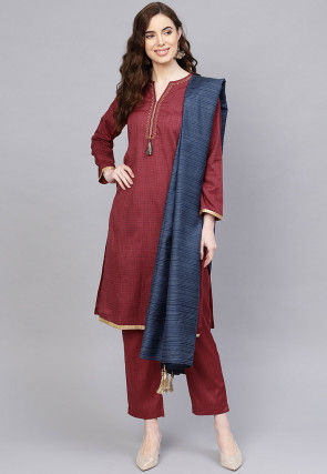 Printed Pure Cotton Pakistani Suit in Maroon