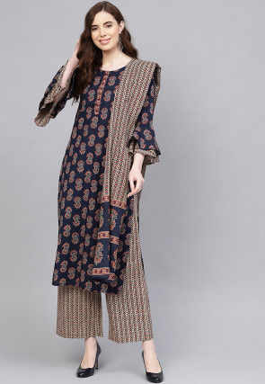 Printed Pure Cotton Pakistani Suit in Navy Blue