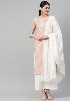 Printed Pure Cotton Pakistani Suit in Peach