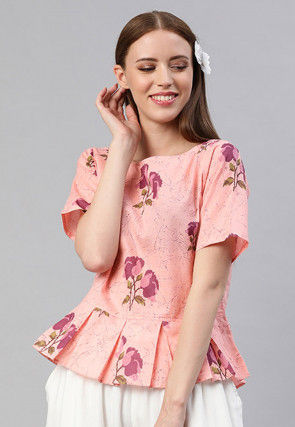 Printed Pure Cotton Peplum Style Top in Peach