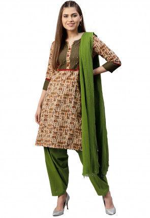 Printed Pure Cotton Punjabi Suit in Beige