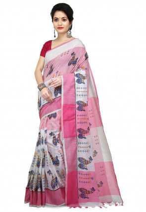 Printed Pure Cotton Saree in Light Pink and White