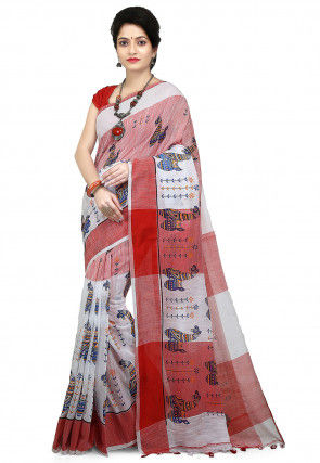 Printed Pure Cotton Saree in Red and White