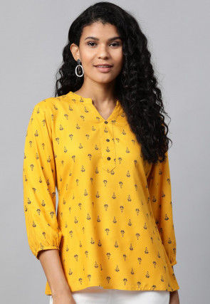 Printed Pure Cotton Top in Mustard