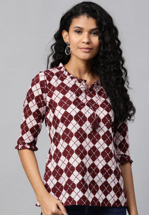 Printed Pure Cotton Top in White and Maroon