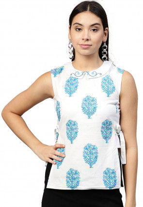 Printed Pure Cotton Top in White