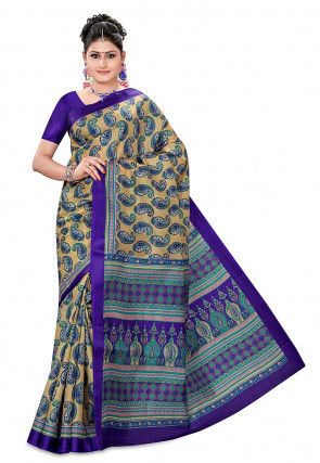 Printed Pure Silk Handloom Saree in Beige