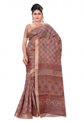 Printed Pure Silk Handloom Saree in Light Brown
