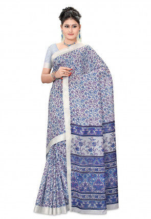 Printed Pure Silk Handloom Saree in Off White