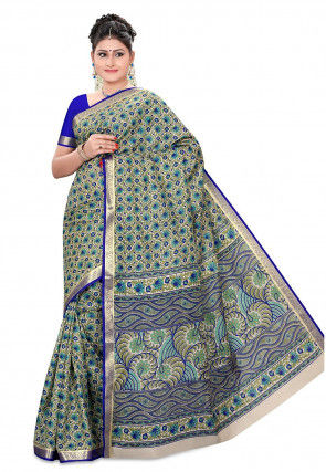 Printed Pure Silk Handloom Saree in Olive Green