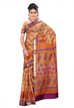 Printed Pure Silk Handloom Saree in Peach and Brown