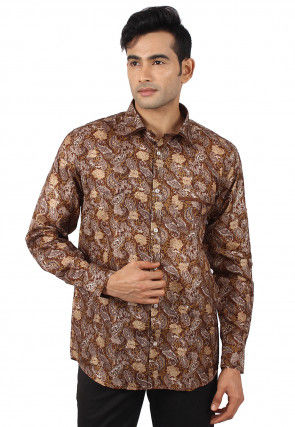 Printed Pure Silk Shirt in Multicolor