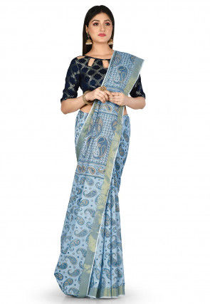 Printed Pure South Cotton Saree in Sky Blue