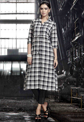 Printed Rayon A Line Kurta in Black and Off White
