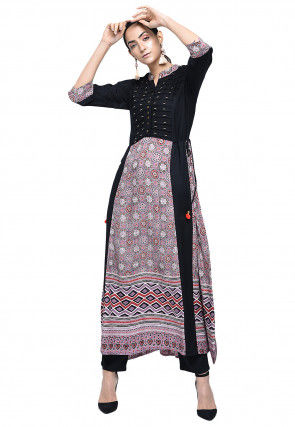 Printed Rayon A Line Kurta in Black and Pink