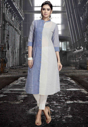 Printed Rayon A Line Kurta in Blue and Off White