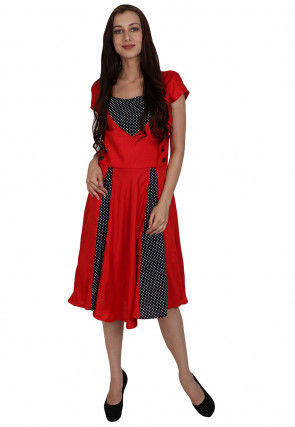 Printed Rayon A line Kurta in Red