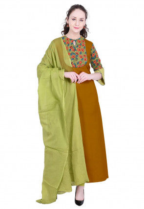 Printed Rayon A Line Suit in Mustard