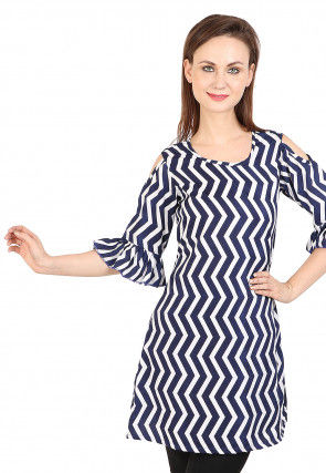 Printed Rayon A Line Tunic in Blue