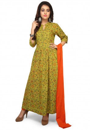 Printed Rayon Abaya Style Suit in Light Olive Green
