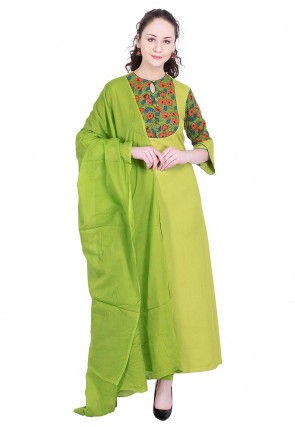 Printed Rayon A-Line Suit in Olive Green