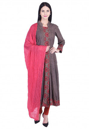 Printed Rayon Anarkali Suit in Dark Grey