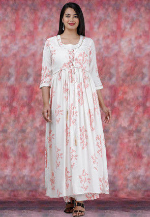Printed Rayon Cotton A Line Kurta Set in Off White