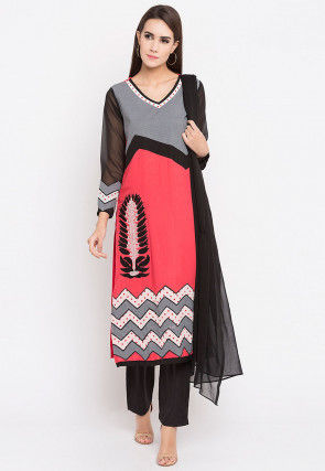 Printed Rayon Cotton Pakistani Suit in Coral Pink and Grey