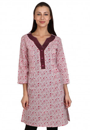 Printed Rayon Cotton Straight Kurta in Off White