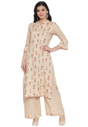 Printed Rayon Cotton Straight Kurta with Palazzo in Beige