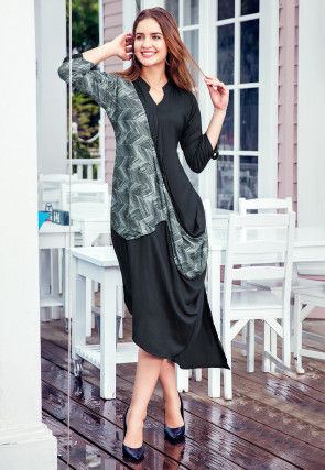 Printed Rayon Cowl Style Tunic in Dark Grey