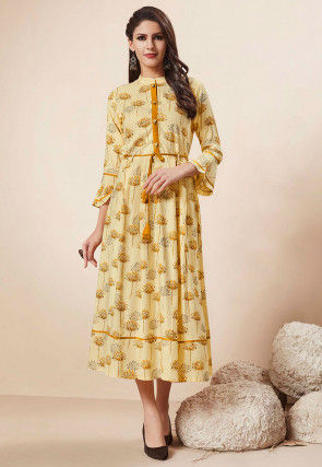 Printed Rayon Dress in Light Yellow