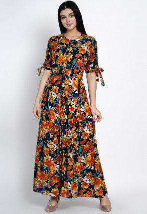 Printed Rayon Dress in Multicolor