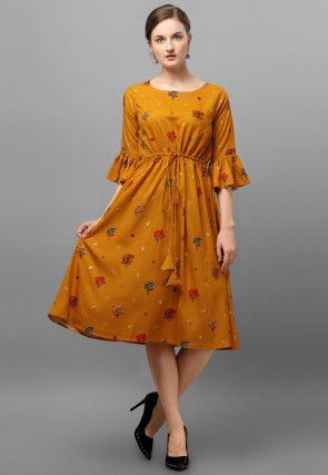 Printed Rayon Fit N Flare Dress in Mustard