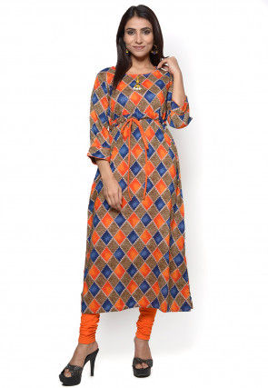 Printed Rayon Flared Kurta in Multicolor