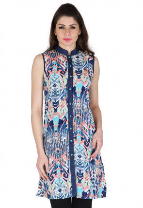 Printed Rayon Front Open Kurti in Multicolor