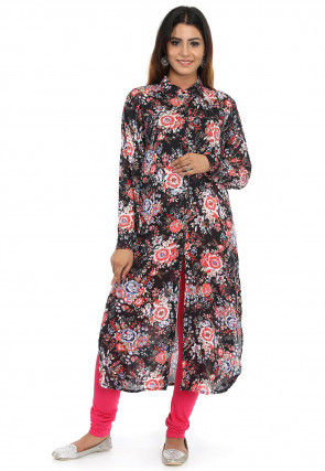 Printed Rayon Front Slit Long Kurta in Black and Multicolor