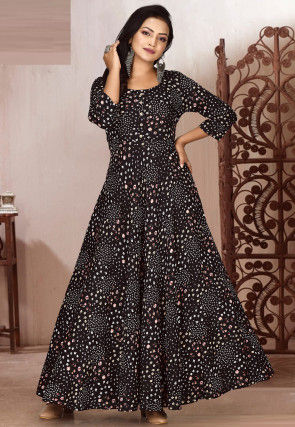 Printed Rayon Gown in Black