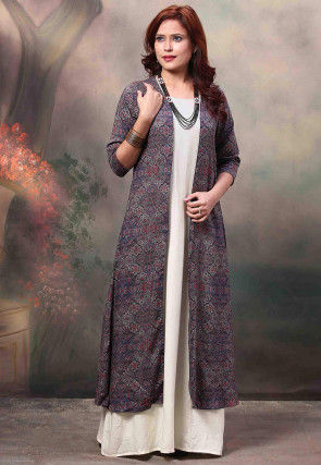 Printed Rayon Jacket Style Kurta in Off White and Purple