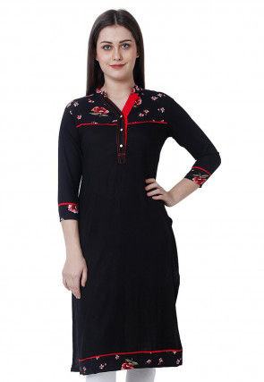 Printed Rayon Kurta in Black