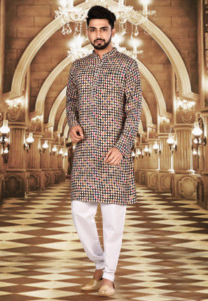 Printed Rayon Kurta Set in Beige and Multicolour