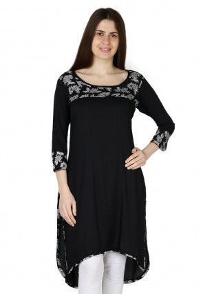 Printed Rayon Kurti in Black
