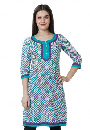 Printed Rayon Kurti Off White and Blue