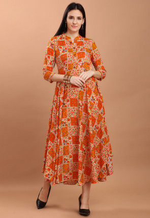 Printed Rayon Long Kurta in Beige and Orange
