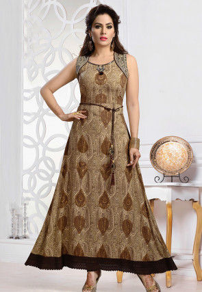 Printed Rayon Long Kurta in Beige