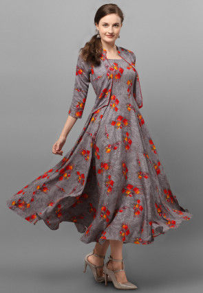 Printed Rayon Long Kurta in Grey