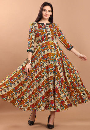 Printed Rayon Long Kurta in Multicolor