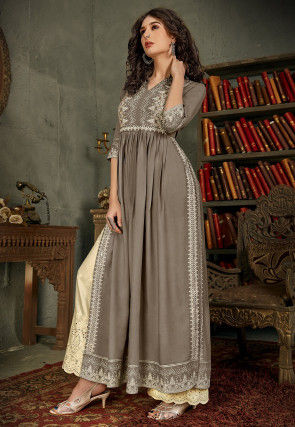 Printed Rayon Long Kurta Set in Grey