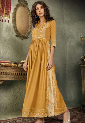 Printed Rayon Long Kurta Set in Mustard