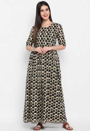Printed Rayon Maxi Dress in Beige and Black